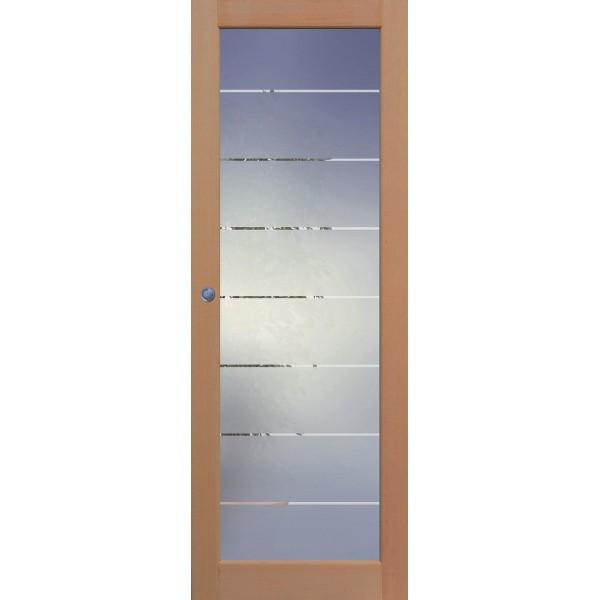 Porte intérieure Emeraude en hêtre 1 carreau, 204x83 cm, rive droite
