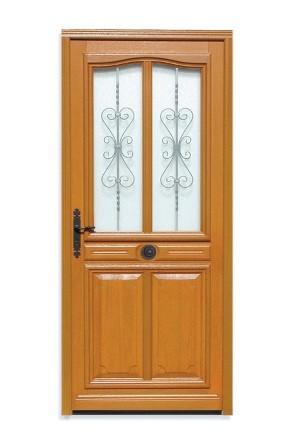 Porte d'entrée vitrée Bois exotique Flo, 215x140cm, poussant droit