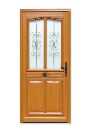 Porte d'entrée vitrée Bois exotique Flo, 215x140cm, poussant gauche