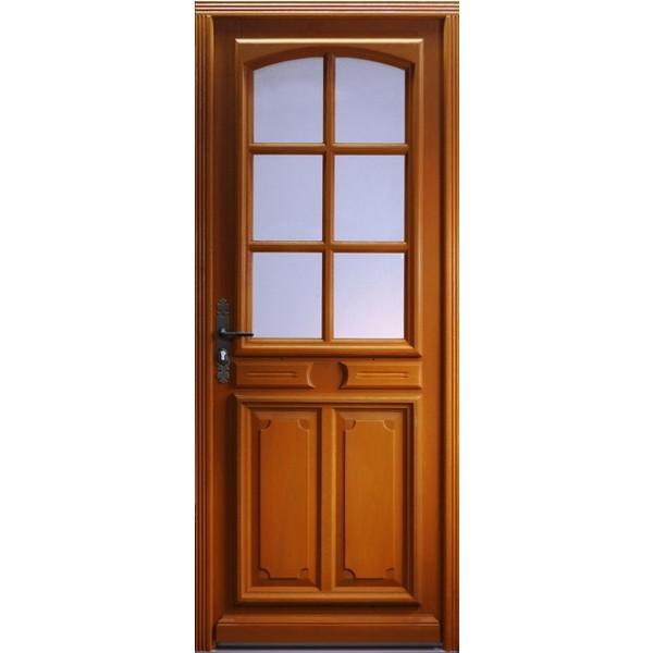 Porte d'entrée vitrée Bois exotique Isa, 215x130cm, poussant droit