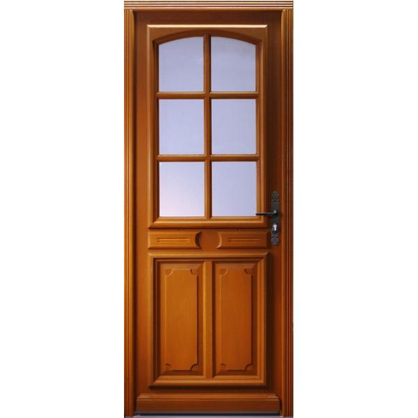 Porte d'entrée vitrée Bois exotique Isa, 215x130cm, poussant gauche