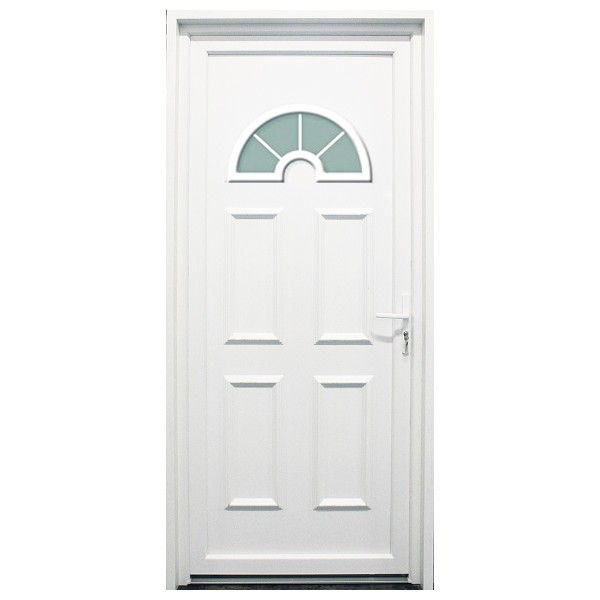 Porte d'entrée PVC Rhône blanche, 200x90cm, poussant gauche