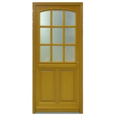 Porte d'entrée vitrée Bois exotique Lola, 215x80cm, poussant gauche