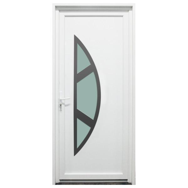 Porte d'entrée PVC Meuse blanche, 215x90cm, poussant droit