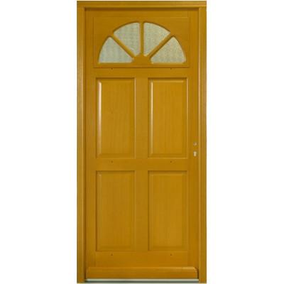 Porte d'entrée vitrée Bois exotique Léa, 215x90cm, poussant gauche