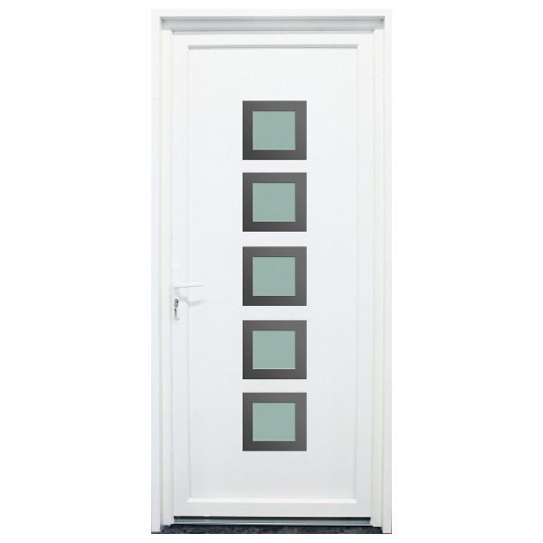 Porte d'entrée PVC Somme blanche, 215x80cm, poussant droit
