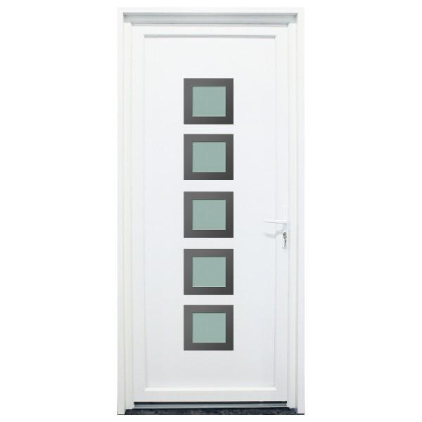 Porte d'entrée PVC Somme blanche, 200x90cm, poussant gauche