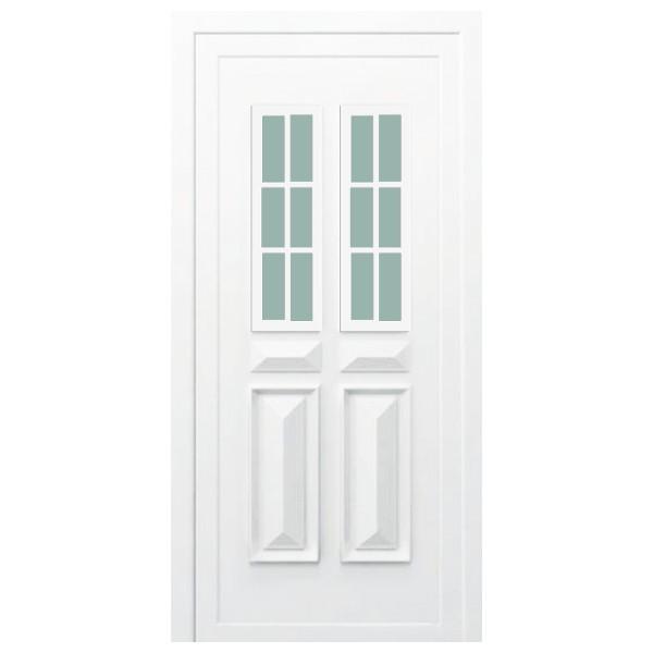 Porte d'entrée PVC Orne blanche, 215x80cm, poussant droit