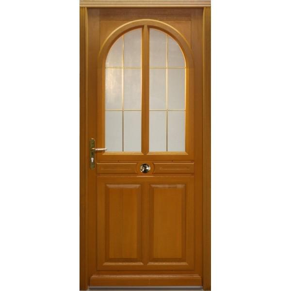 Porte d'entrée vitrée Bois exotique Ana, 215x90cm, poussant droit