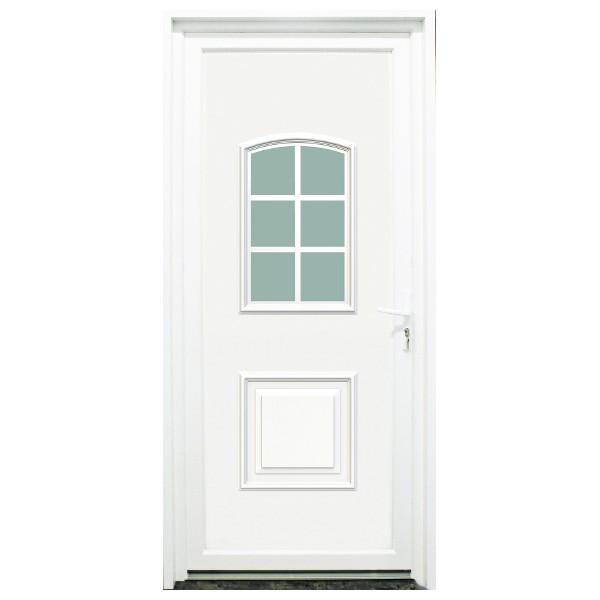 Porte d'entrée PVC Loire blanche, 215x90cm, poussant gauche