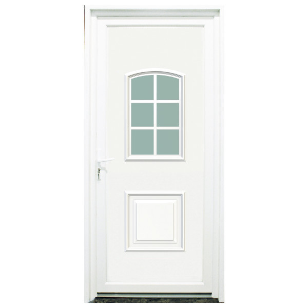 Porte d'entrée PVC Loire blanche, 215x90cm, poussant droit