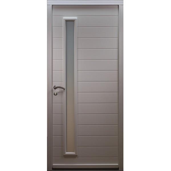 Porte d'entrée Bois prépeint Ema, 215x90cm, poussant droit