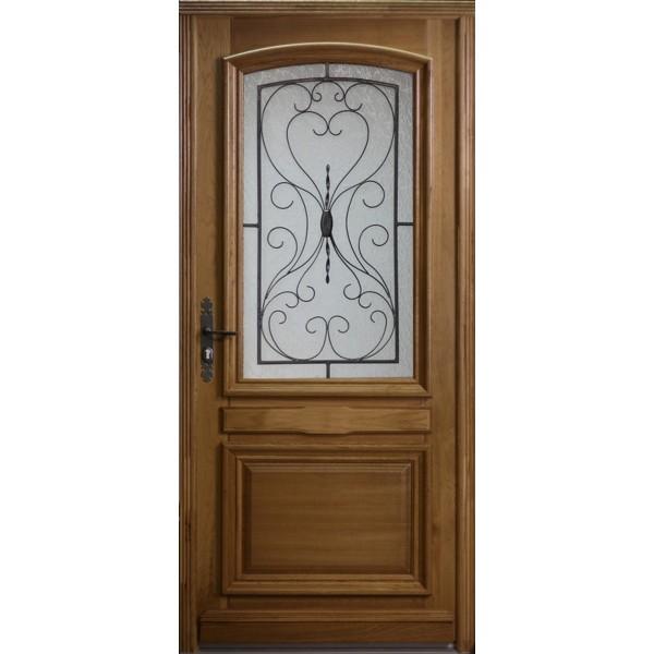 Porte d'entrée vitrée en Chêne Inès, 215x90cm, poussant droit