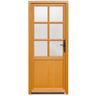 Porte de service vitrée Bois exotique Lise, 200 x 90cm, poussant gauche