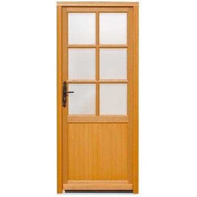 Porte de service vitrée Bois exotique Lise, 200 x 90cm, poussant droit