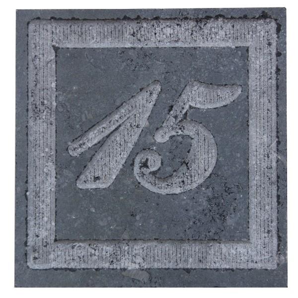 Plaque de rue en pierre bleue meulée, 3 ou 4 chiffres rectangulaire