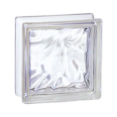 Brique de verre incolore 19x19x8 cm, aspect Nuage, 5 pièces, Prix Unitaire