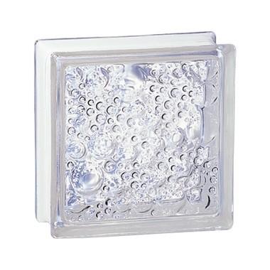 Brique de verre incolore 19x19x8 cm, aspect Bullé, 5 pièces, Prix unitaire