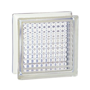 Brique de verre incolore 19x19x8 cm, aspect quadrillé, lot 5 pièces