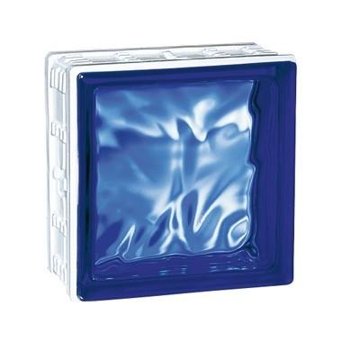 Brique de verre Cubiver Cobalt 19.8x19.8x8 cm aspect nuagé, par 5 U
