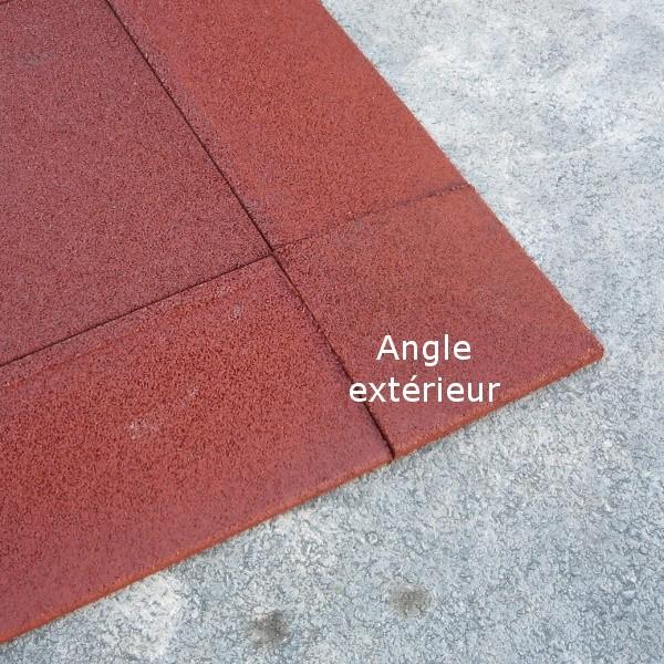 Angle extérieur caoutchouc chanfreiné Hexdalle XE 25 x 25 cm, ép 1 à 2 cm, couleur rouge brique, l'unité