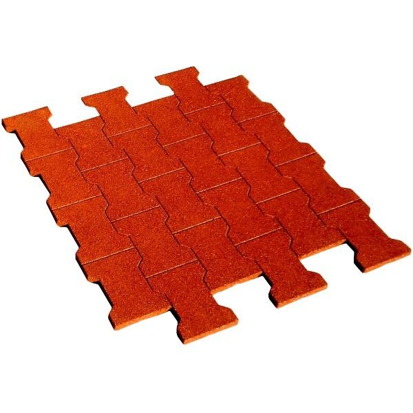 Dalle/pavé caoutchouc 80x80x2 cm, couleur rouge brique, la dalle