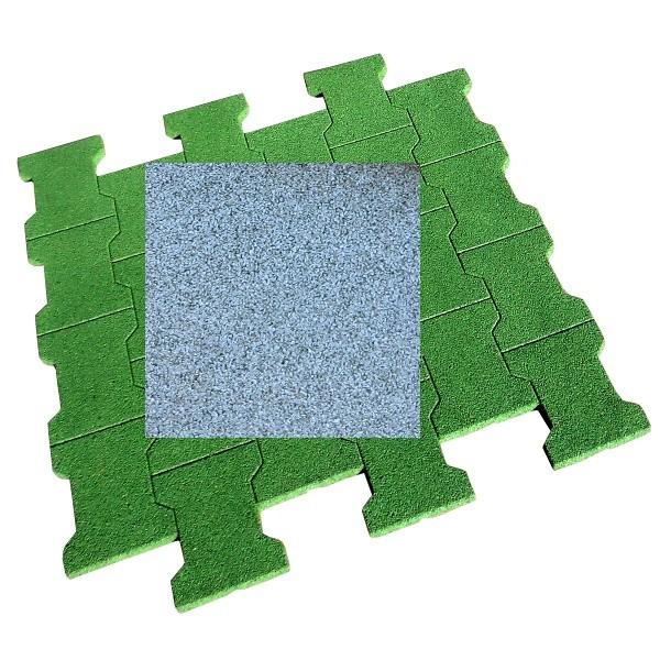 Dalle/pavé caoutchouc 80x80x2 cm, couleur grise, la dalle