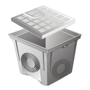 Regard PVC avec couvercle polypro 30x30 cm, gris, le lot de 2  pièces