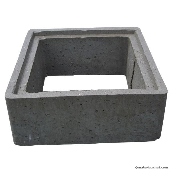 Rehausse béton 40x40 cm hauteur 20 cm, l'unité
