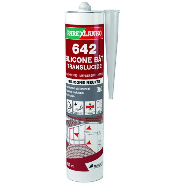 Mastic 642 Silicone Bâti Translucide ParexLanko, 300 ml