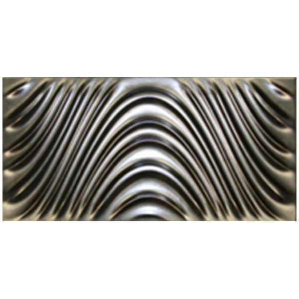 Carrelage mural Dune megalos silver, effet métal 3D, 30x60cm, la pièce