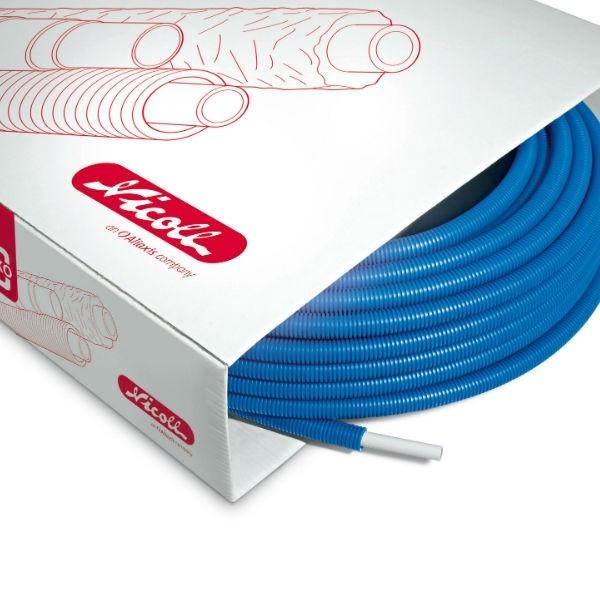Tube pré-fourreauté multicouche Fluxo 16x2 mm bleu 100 m Nicoll