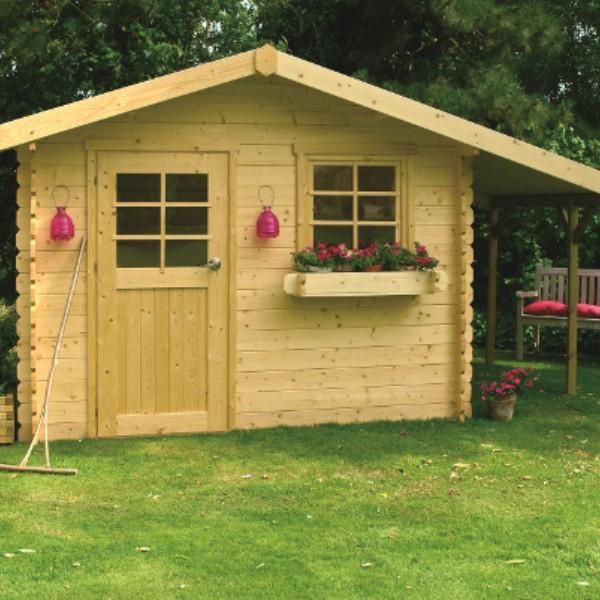 Abri de jardin bois autoclave SOLID modèle BERN 298+88x198 cm