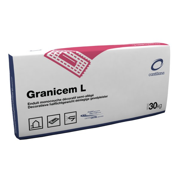 Enduit de façade monocouche semi-allégé Cantillana Granicem L, 25kg