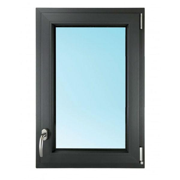 Fenêtre 1 Vantail PVC Gris 7016 60x50 cm OB Verre Granité Tirant Droit