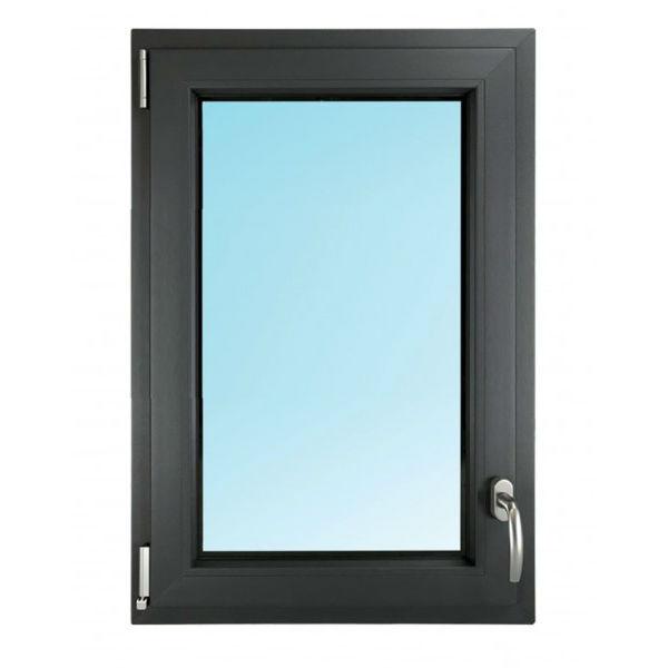 Fenêtre 1 Vantail PVC Gris 115x80 cm Oscillo Battant Tirant Gauche