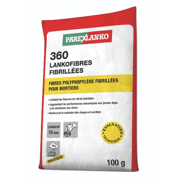 Fibres Polypropylènes 360 Lankofibres Fibrillées ParexLanko, 100 g