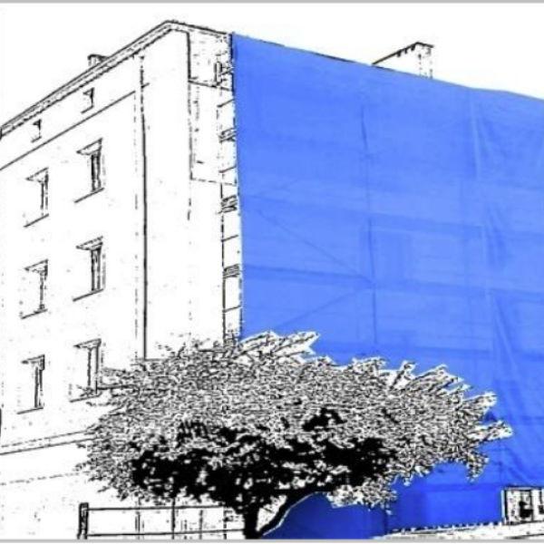 Filet Protection Echafaudage Bleu 3 x 50 m