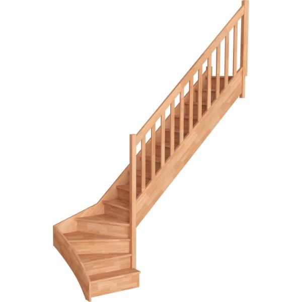 Escalier Quart Tournant Bas Hêtre Massif Trémie 300x90 cm