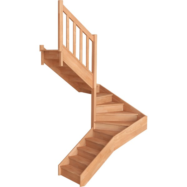 Escalier Demi Tournant Hêtre Massif Trémie 180x180 cm