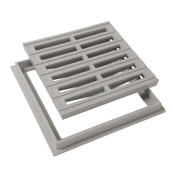 Grille de sol PVC 25 x 25 cm gris clair Nicoll GRC25 avec cadre