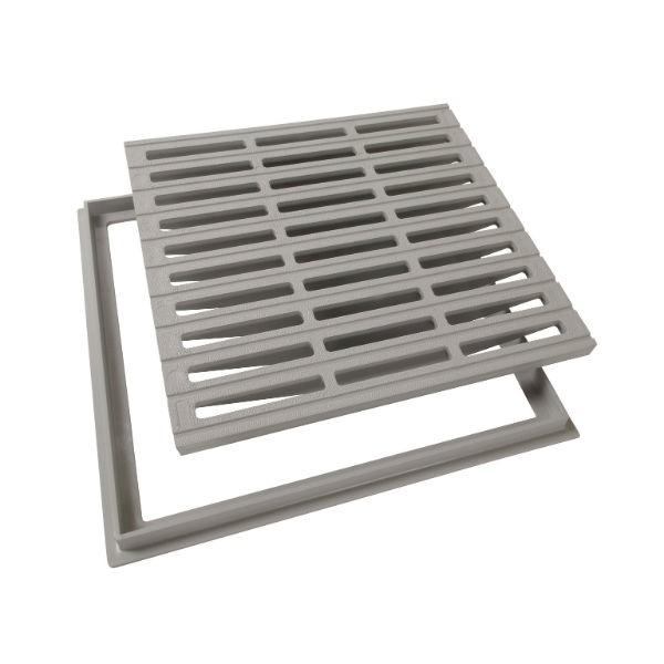 Grille de sol PVC 40 x 40 cm gris clair Nicoll GRC40 avec cadre