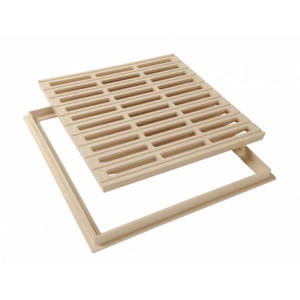 Grille de sol PVC 40 x 40 cm sable Nicoll GRC40S avec cadre