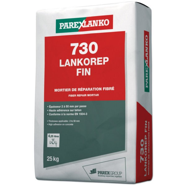 Mortier de Réparation Lankorep Fin 730, sac de 25kg