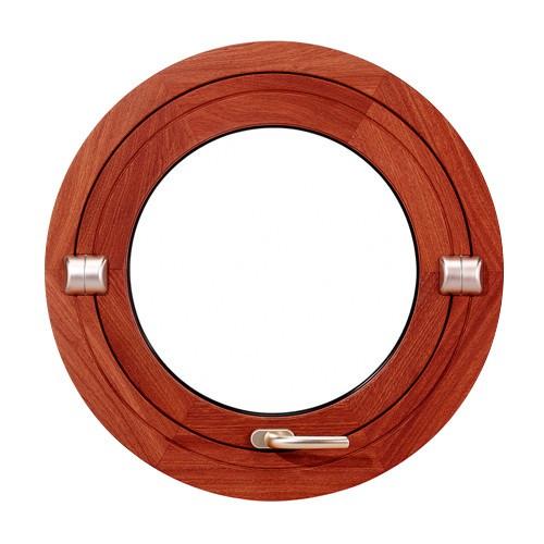 Oeil de boeuf basculant en bois exotique, rond diamètre 50 cm