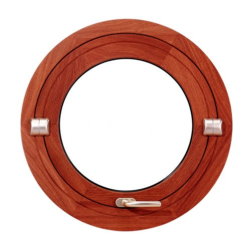 Oeil de boeuf basculant en bois exotique, rond diamètre 90 cm