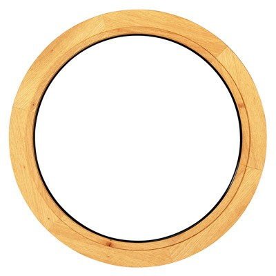 Oeil de boeuf fixe en bois exotique, rond diamètre 70 cm