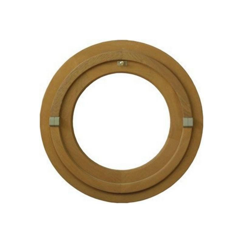 Oeil de boeuf vitré rond en bois exotique, diamètre 50 cm