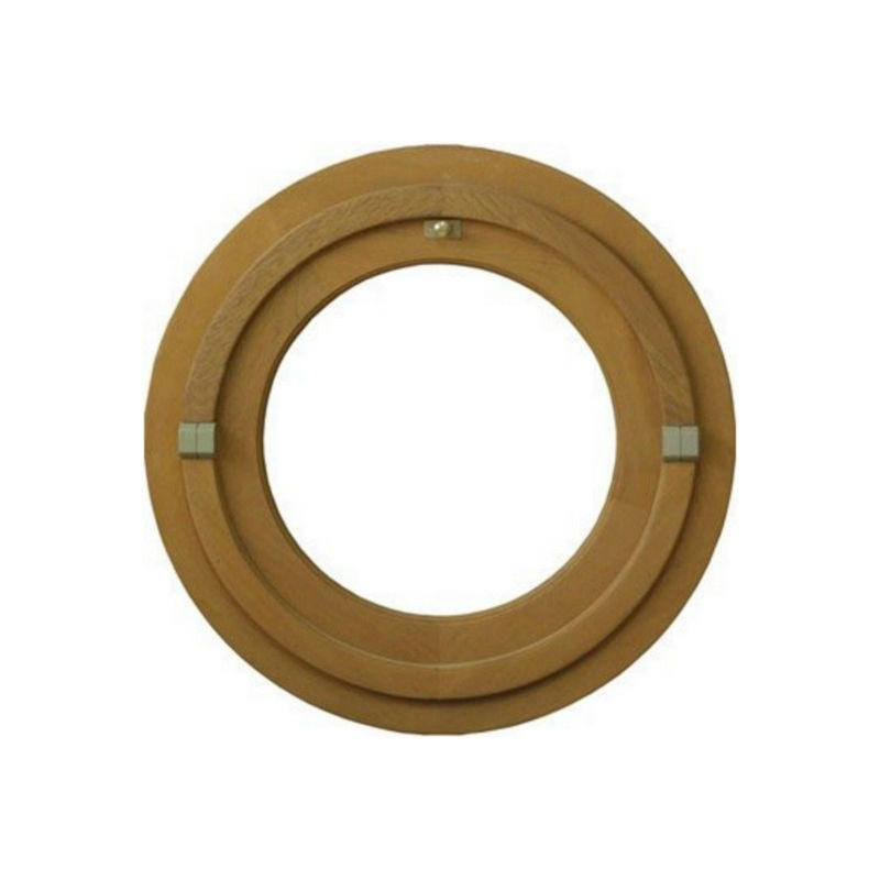 Oeil de boeuf vitré rond en bois exotique, diamètre 80 cm
