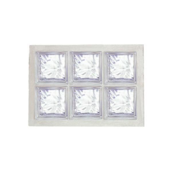 Panneau de 6 briques de verre La Rochère n°23 incolore, 47 x 67 cm